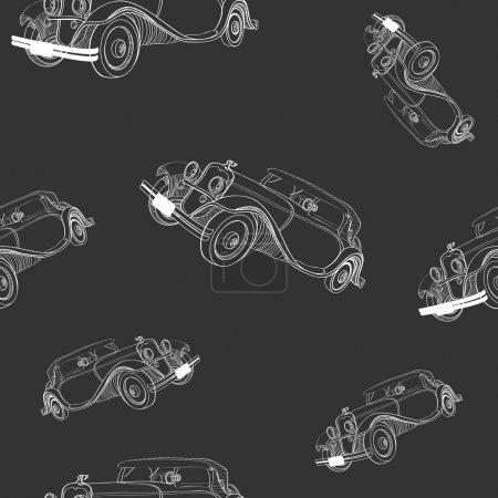 Illustration pour Fond sans couture avec des voitures anciennes - image libre de droit