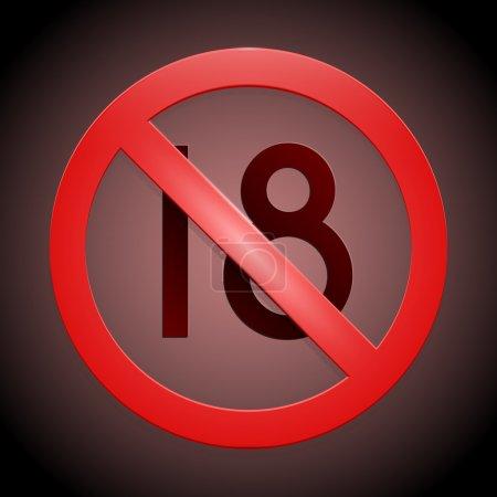 Under eighteen sign on dark background