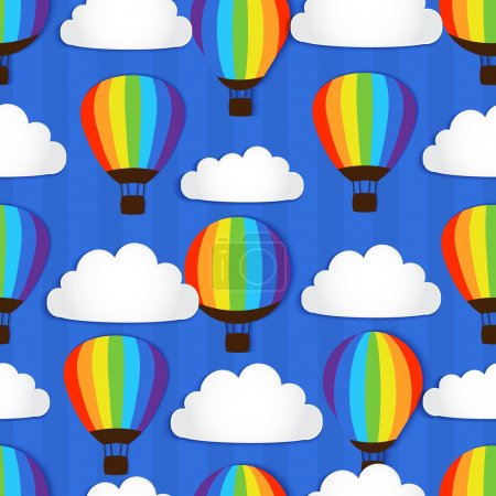 Illustration for Seamless pattern with Hot Air Balloons in the sky - vector illustration - Royalty Free Image