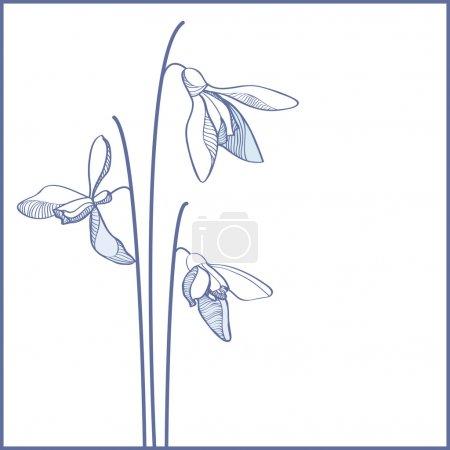 Illustration pour Carte de fleurs vectorielles bleues - image libre de droit
