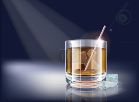 Vector whisky glass. Vector illustration.