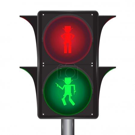Illustration pour Vecteur de feux de circulation avec cow-boy - image libre de droit