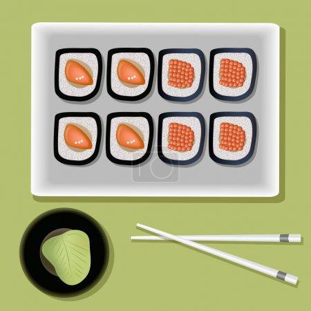 Illustration pour Sushi vecteur sur la plaque et baguettes - image libre de droit