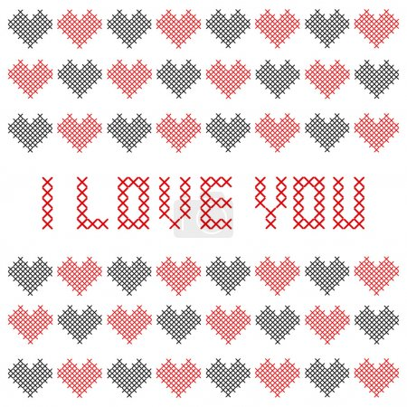 Illustration pour Carte de Saint Valentin brodée. Illustration vectorielle . - image libre de droit