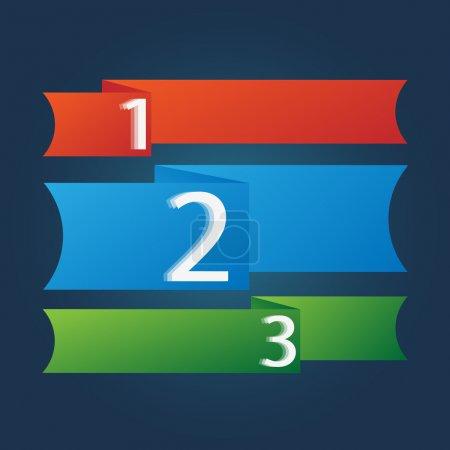 Illustration pour Un deux trois - icônes de progrès vectoriel pour trois étapes - image libre de droit