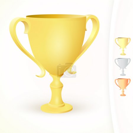 Winner's cups on white background