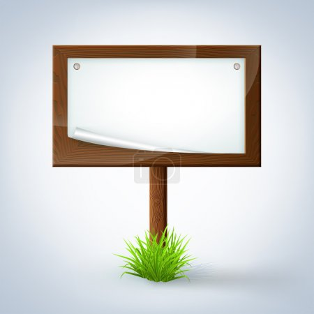 Illustration for Wooden sign in grass - Royalty Free Image