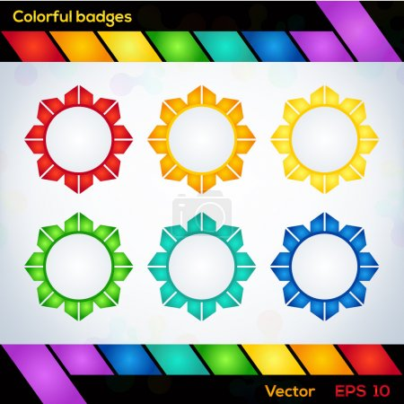 Colorful vector badges. Vector illustration.