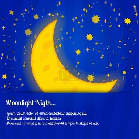 Moonlight night - vector illustration