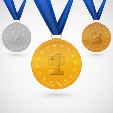 Medals on white background. Vector illustration.