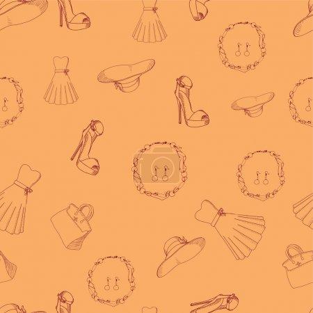 Illustration pour Modèle sans couture avec les choses de la femme illustration vectorielle - image libre de droit