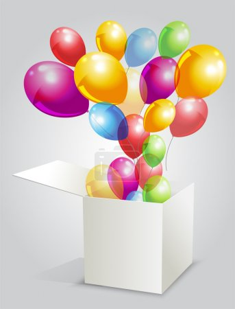 Illustration for happy birthday with balloons from box