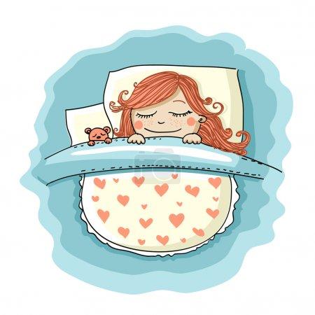 Illustration pour Fille dormir dans le lit avec son ours en peluche - image libre de droit