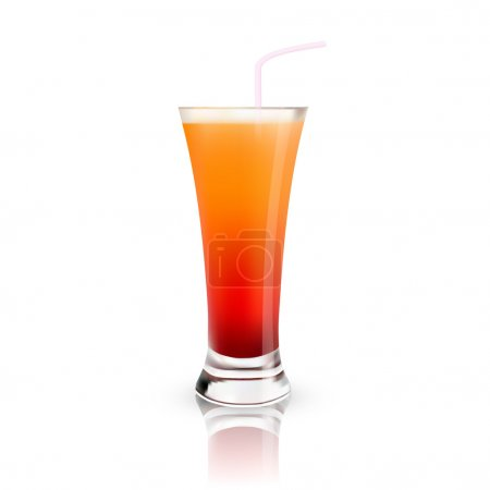 glass with juice. Vector illustration.
