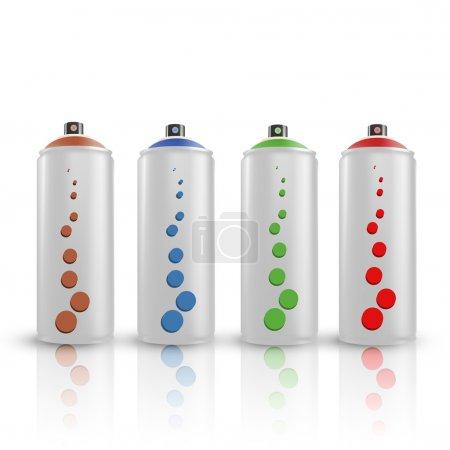 spray tins. Vector illustration.