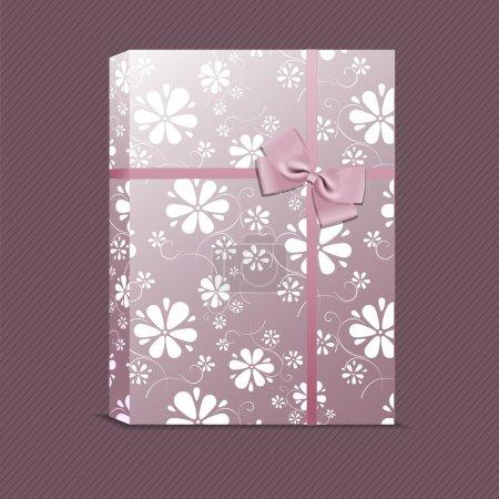 Illustration pour Image vectorielle de cadeau violet avec de petites fleurs - image libre de droit