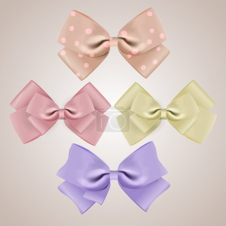 Photo for Set of vector silk bows - Royalty Free Image