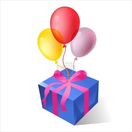 Boîtes cadeaux isolées vectorielles avec ballons