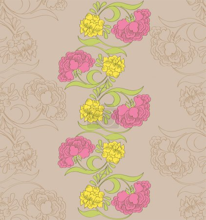 Vector floral seamless pattern with fantasy blooming flowers