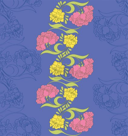 Photo for Vector floral seamless pattern with fantasy blooming flowers - Royalty Free Image