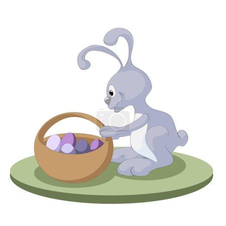 Illustration pour Lapin de Pâques avec panier de Pâques plein d'œufs de Pâques décorés - image libre de droit