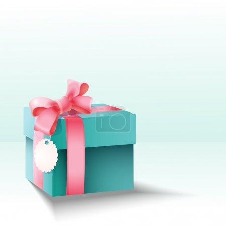 Photo pour Boîte cadeau vectorielle avec noeud rose soie - image libre de droit