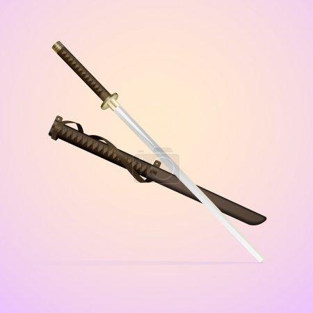 Illustration pour Katana - épée japonaise. Illustration vectorielle . - image libre de droit