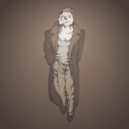 Illustration pour Un homme en imperméable sur fond gris - image libre de droit