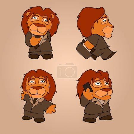 Illustration pour Homme d'affaires lion sur fond gris. concept . - image libre de droit