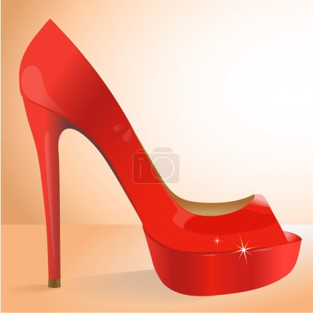 vector red shoe. Vector illustration.