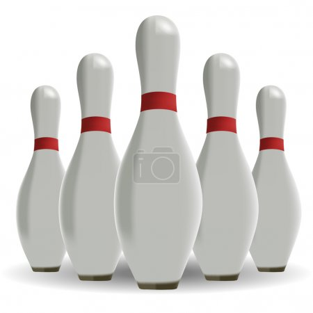 Sports game. Bowling. Skittles on a white background
