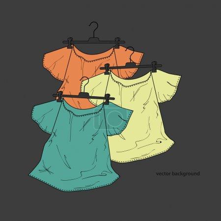Illustration pour Fond de chemises sur cintres - image libre de droit