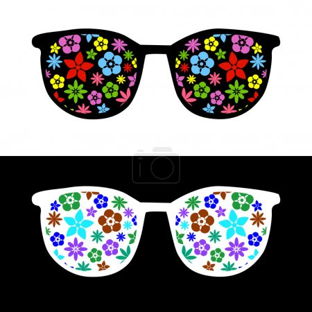 Illustration for Fashion sunglasses with flowers - Royalty Free Image
