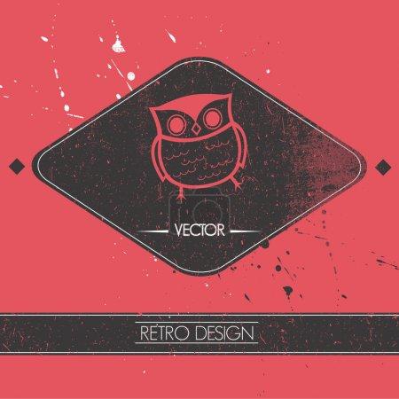 card with retro owl