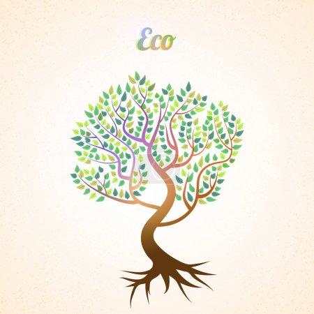 Vektor abstrakter Baum mit grünen Blättern