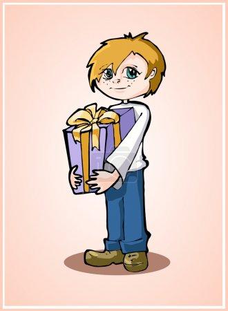 Illustration pour Casual jeune garçon debout avec boîte cadeau - image libre de droit