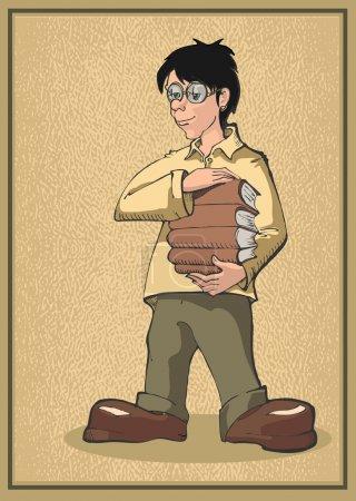 Illustration pour Étudiant vecteur debout avec quelques livres - image libre de droit