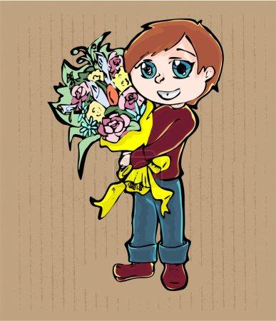 Illustration pour Jeune garçon dessin animé avec bouquet de fleurs - image libre de droit