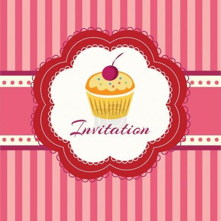 Cupcake background. Invitation. Vector illustration.
