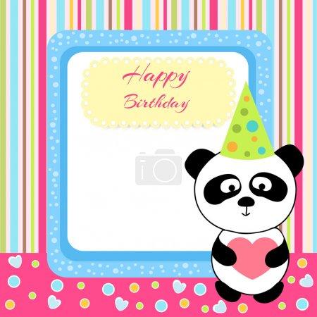 Vector cute panda with birthday card