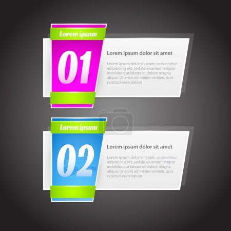 Illustration for Vector One Two steps banners with glossy colorful tags - Royalty Free Image