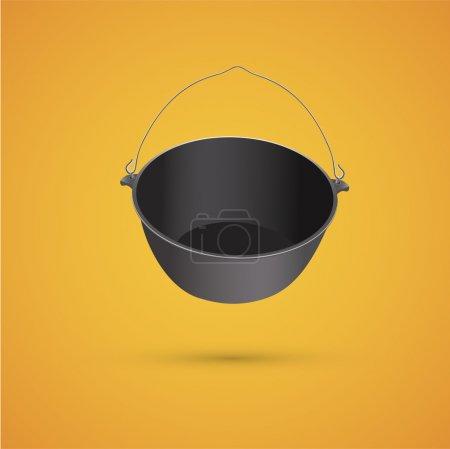 Illustration for Black kettle for campfire.vector illustration - Royalty Free Image