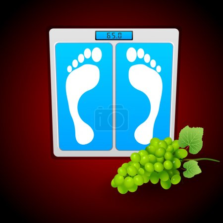 Personal bathroom scale with grape for diet or healthcare concept. Vector illustration.