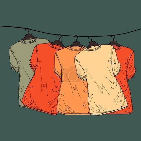 background of shirts on hangers