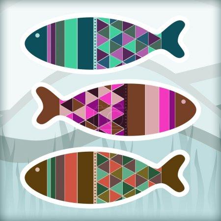 Ornamental aquarium fishes, vector design