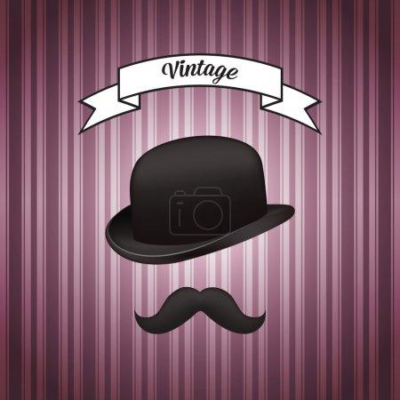 Illustration pour Chapeau et moustache, conception vectorielle - image libre de droit