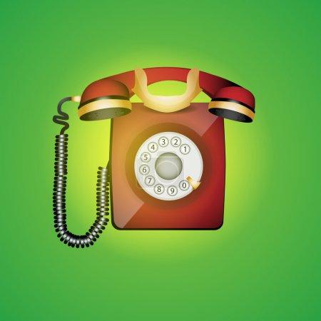 Old phone. Vector illustration