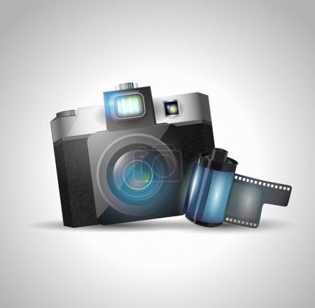 Illustration pour Caméra et film, illustration vectorielle - image libre de droit