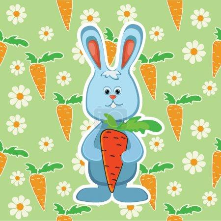 Illustration pour Lapin à la carotte. Illustration vectorielle - image libre de droit