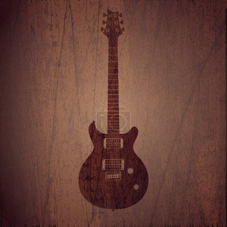 Photo pour Vecto fond en bois avec guitare électrique . - image libre de droit